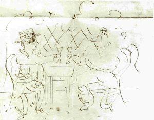 1915 Picasso brindando con Apollinaire