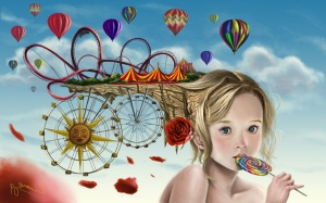 2560x1600_573_Summer_2d_surrealism_girl_balloons_rose_candy_fun_theme_park_child_kid_female_c