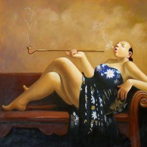 peinture-femme-chinoise-en-soie-bleue-et-sa-pipe-a-opium-tableaux-jean-jacques-rio-galerie-art-deco-auray-attention-a-la-peinture-